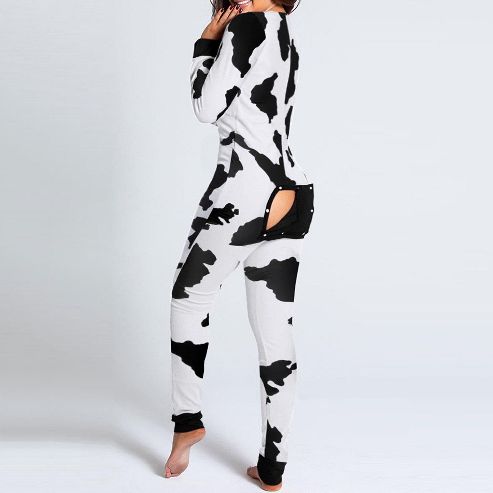 Seksowne damskie piżamy Onesies zapinane na guziki z przodu dekolt w szpic piżamy dla dorosłych kombinezon funkcjonalny zapinany na guziki Flap piżama Femme bielizna nocna
