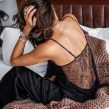 HiLoc Backless Satin seksowna piżama czarna koronkowa piżama z spodnie luźne Spaghetti pasek intymna bielizna bielizna nocna kobiety Pj zestaw