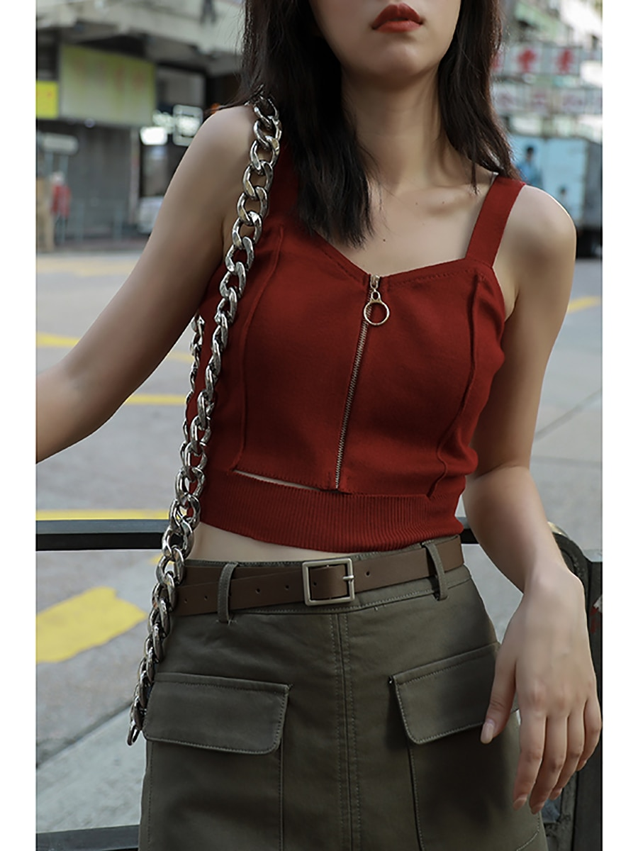 Women's Zippered Crop Top