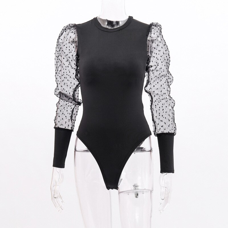 Black Women's Bodysuit with Puff Sleeves
