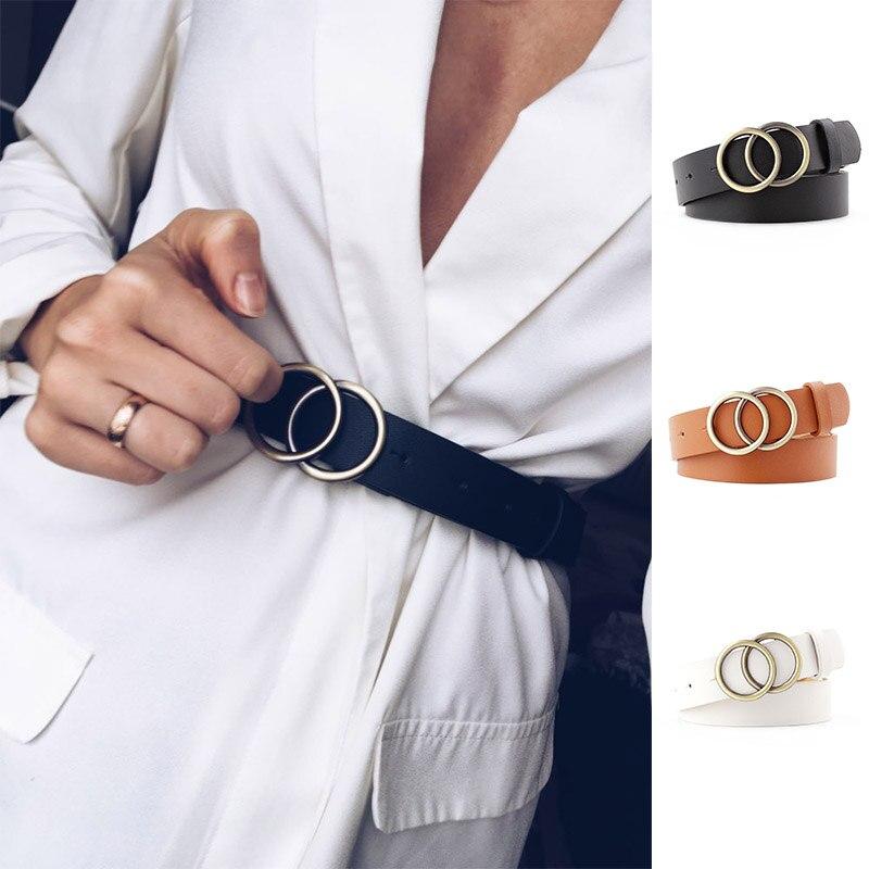 Moda skórzany pasek do dżinsów podwójny pierścień perłowa klamra pasek damski do sukienek czarny biały pasek damski dziki pas