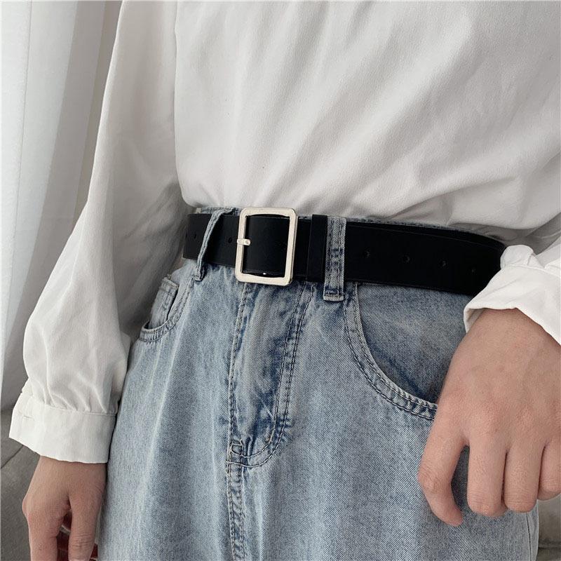 2020 PU skórzany pasek dla kobiet kwadratowa klamra ze sprzączką dżinsy czarny pasek elegancki luksusowy damski pasek w stylu Vintage damski pasek