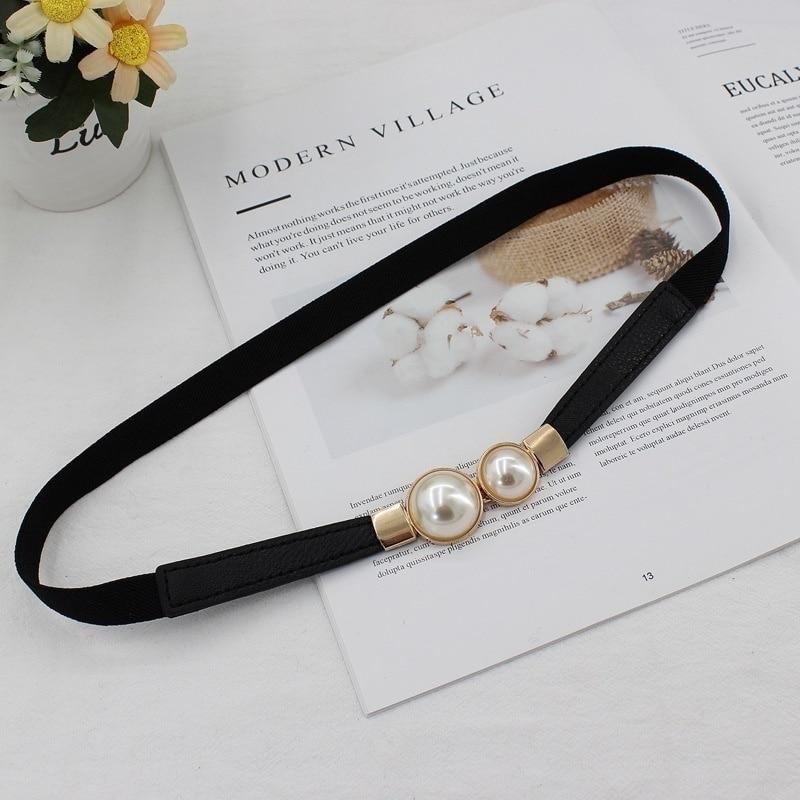 Kobiety podwójna perła pas PU skórzana sukienka spódnica w pasie elastyczne cienkie paski damskie w pasie