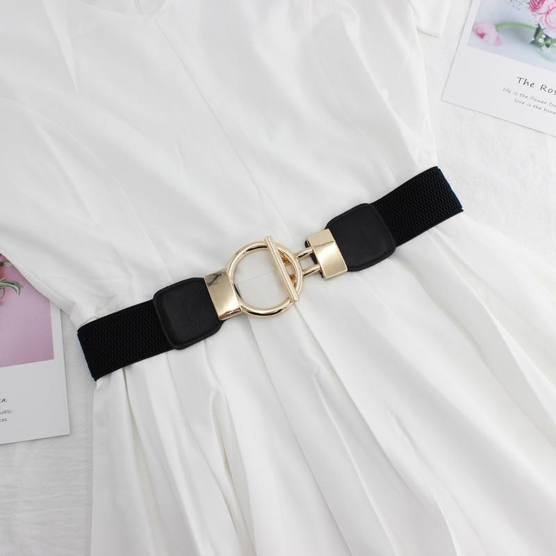 Moda sukienka pasy dla kobiet gładka talia elastyczna damska opaska okrągła klamra ozdoba płaszcz sweter Party pas pas napinający prezent
