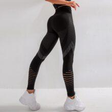 SVOKOR wysokiej talii Fitness legginsy kobiety Sexy bezszwowe legginsy Hollow spodnie treningowe z nadrukiem Push Up Slim elastyczność