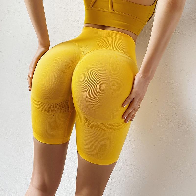 Slim Fit wysokiej talii joga spodenki sportowe Hip Push Up kobiety zwykły miękkiej nylonowej Fitness szorty do biegania trening brzucha spodenki gimnastyczne