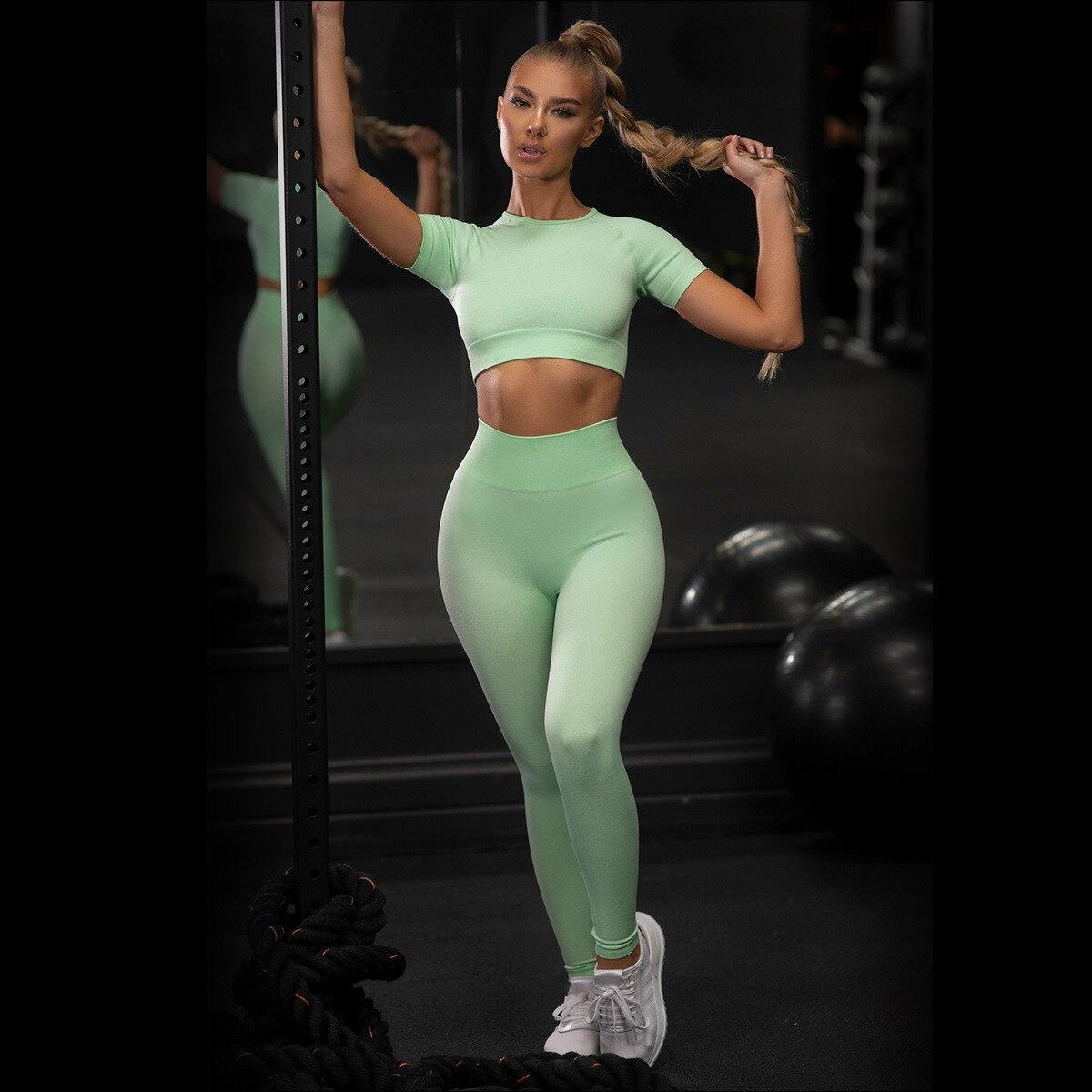 Seamless Women Yoga Set koszulki treningowe sportowe spodnie biustonosz odzież sportowa krótka koszula wysokiej talii legginsy do biegania zestaw sportowy 2005