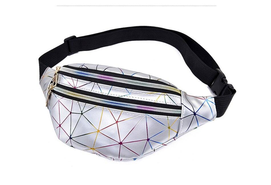 AIREEBAY holograficzne saszetki na pas kobiety srebrny piterek kobiece saszetka na pasek czarne geometryczne talii paczki laserowe etui na telefon