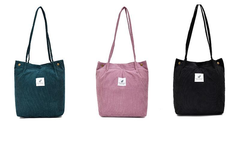Torebki damskie 2021 sztruksowe torby na ramię torby na zakupy wielokrotnego użytku Casual Tote torebka damska na pewną liczbę Dropshipping