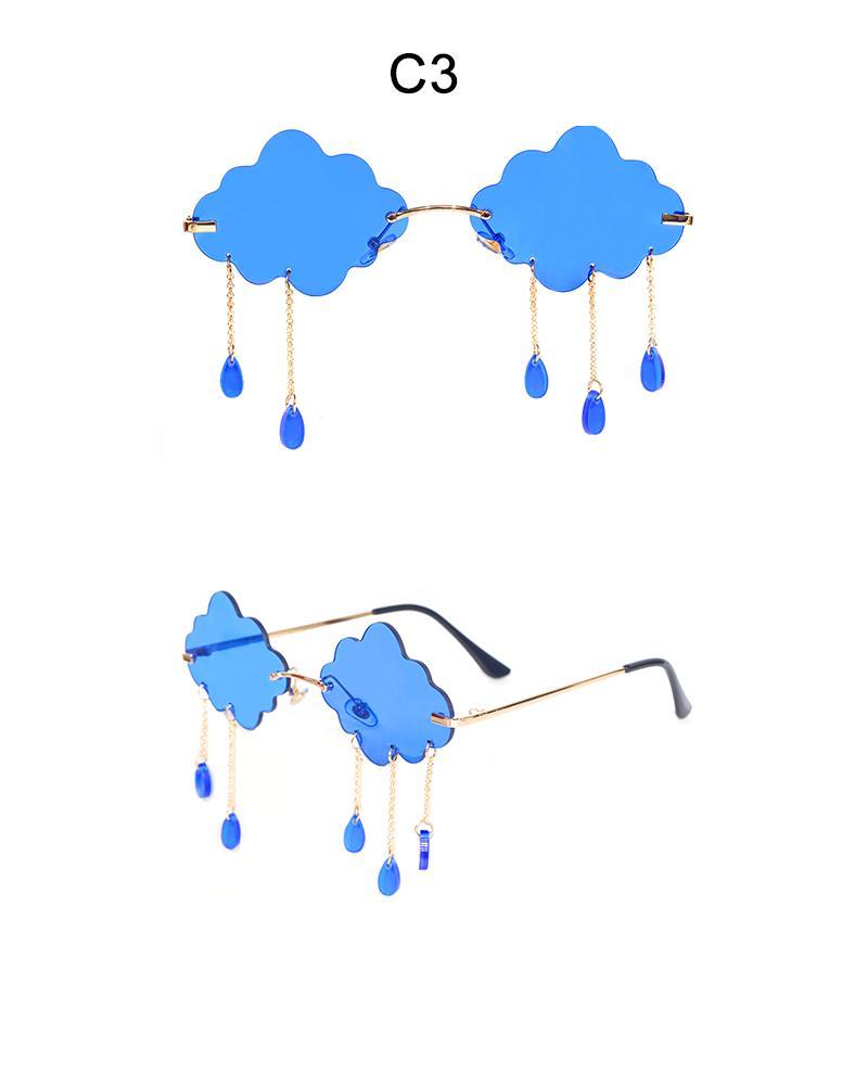 Moda okulary przeciwsłoneczne bezramkowe kobiety 2020 Vintage chmury Tassel Steampunk okulary mężczyźni bezramowe Punk okulary odcienie UV400 óculos