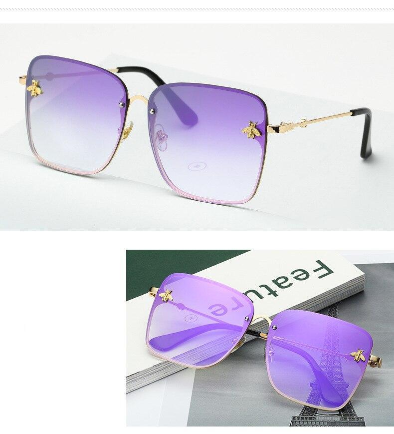 2020 New Fashion Lady Oversize Rimless Square Bee okulary kobiety mężczyźni małe Bee okulary gradientowe okulary kobieta UV400