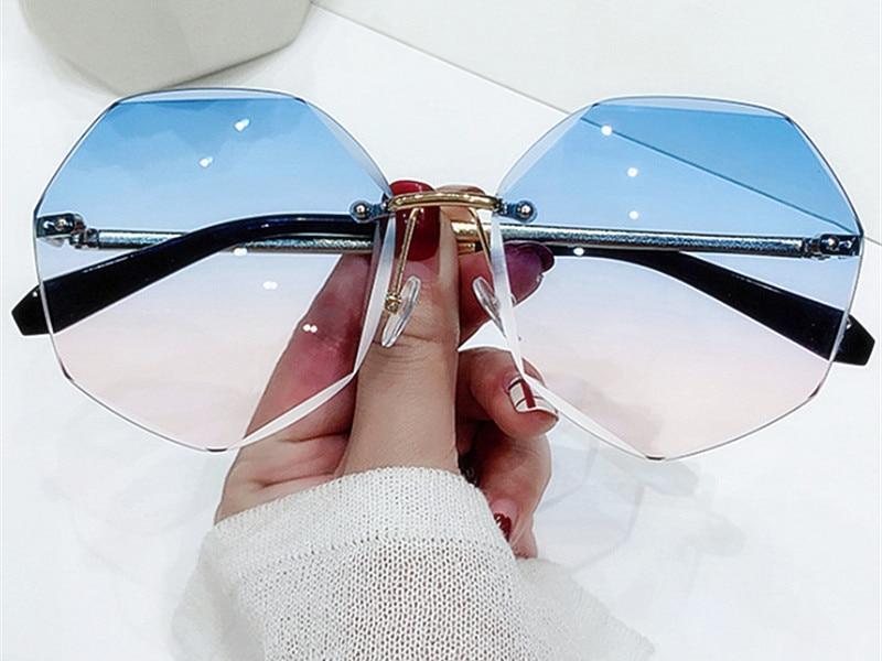 YOOSKE Rimless damskie okulary przeciwsłoneczne Design Fashion Lady okulary przeciwsłoneczne Vintage Alloy klasyczne osłony przeciwsłoneczne od projektantów okulary UV400