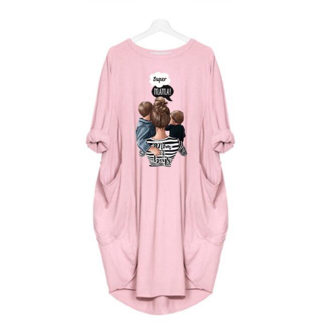 Plus rozmiar damski Midi sukienka z długim rękawem sukienki Super Mama drukuj o szyi luźna kieszeń Casual Vintage Vestidos szata Femme jesień