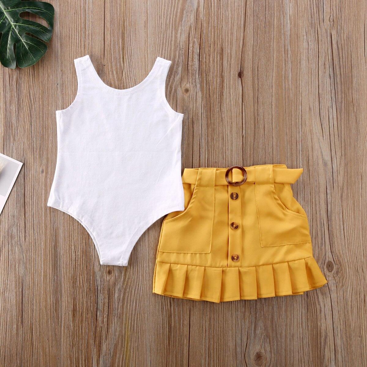 2 sztuk maluch dzieci dziewczynka ubrania zestawy bez rękawów jednolity kolor, kamizelka Romper żółty plisowana spódnica strój na lato zestaw