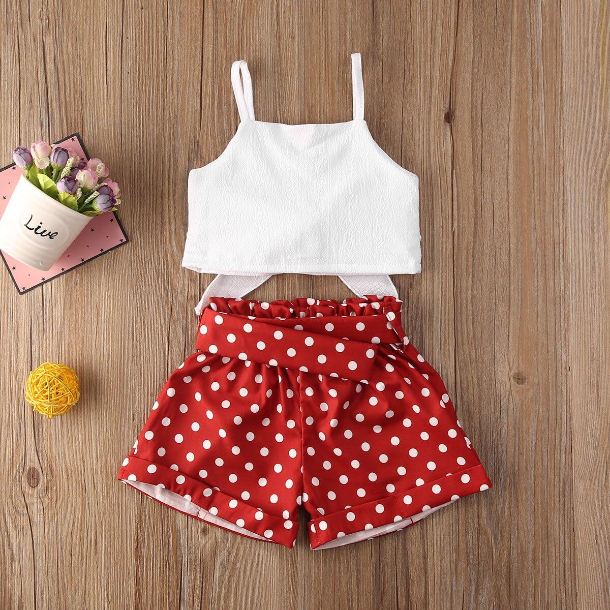 Maluch dziewczynka ubrania zestawy lato jednolity kolor pasek Bowknot krótkie bluzki Polka Dot krótkie spodnie 2 sztuk stroje 1-6Y