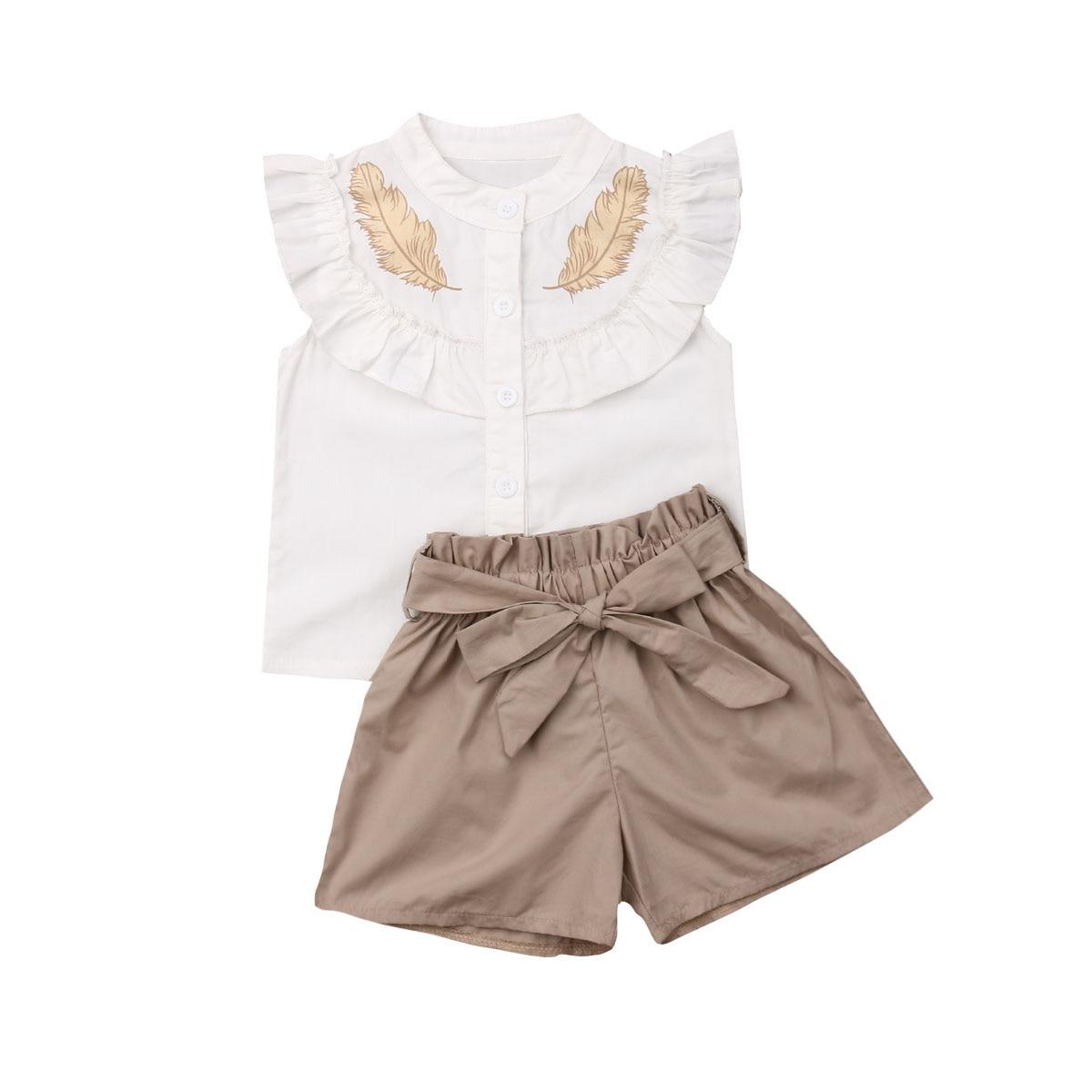 Lovely Kid dziewczynek zestawy ubrań z piór lato top bez rękawów dopasowane krótkie spodenki 2szt stroje modna odzież 2-6 lat