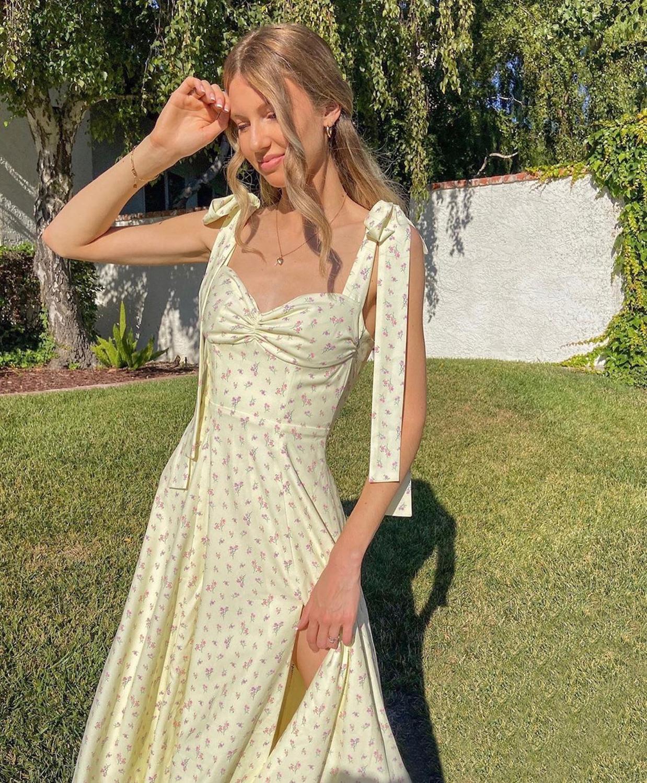 Kryptograficzny kwiatowy Print Cottagecore bez rękawów pasek sukienki Midi do klubu na imprezę Sexy Backless elegancka rozdzielona sukienka kobiety Vestidos