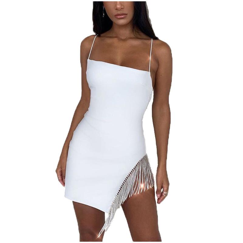 Sexy pomponem diamenty sukienka na imprezę kobiety Spaghetti pasy Backless podziel Bodycon dla kobiet elegancka sukienka