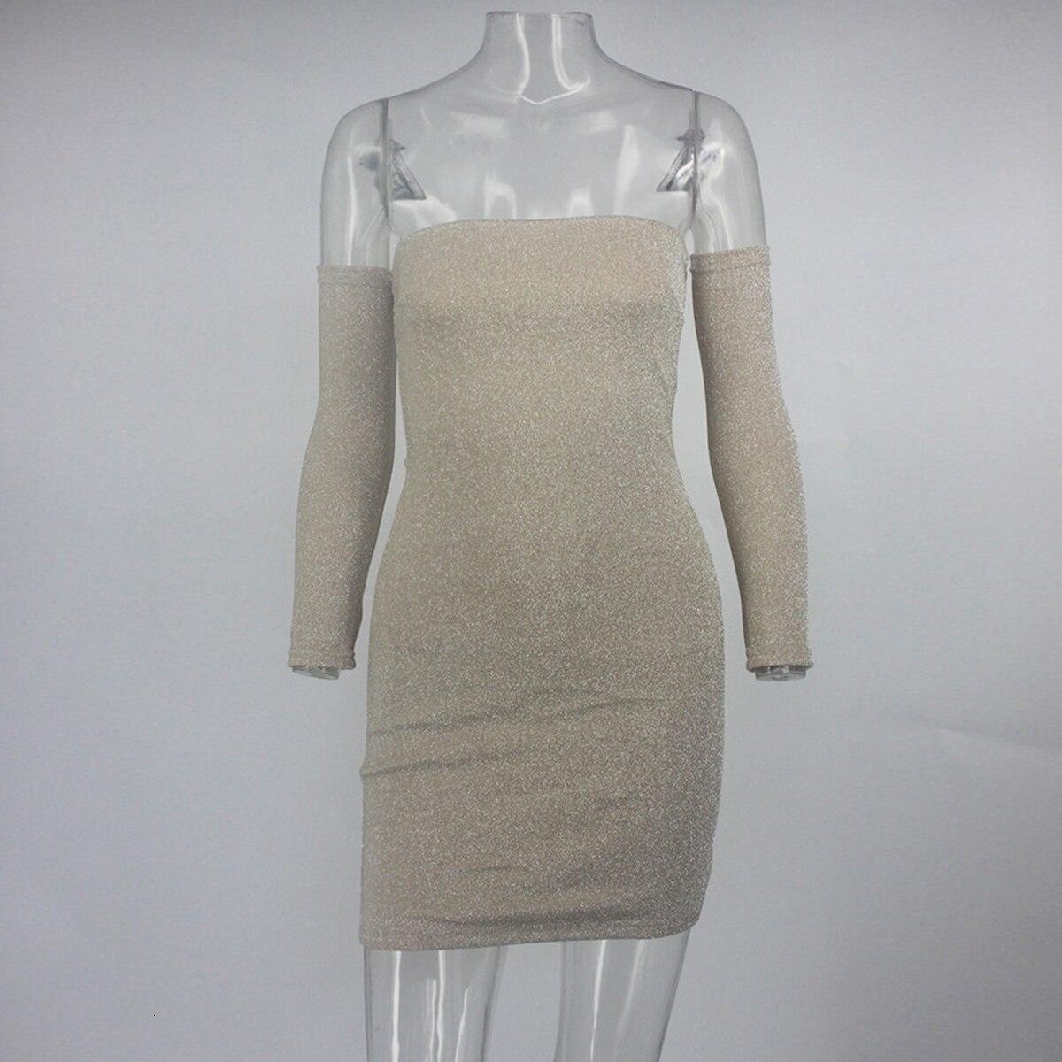 NATTEMAID Off Shoulder błyszcząca obcisła sukienka damska z długim rękawem seksowna sukienka damska jesienno-zimowa elegancka klubowa suknia wieczorowa
